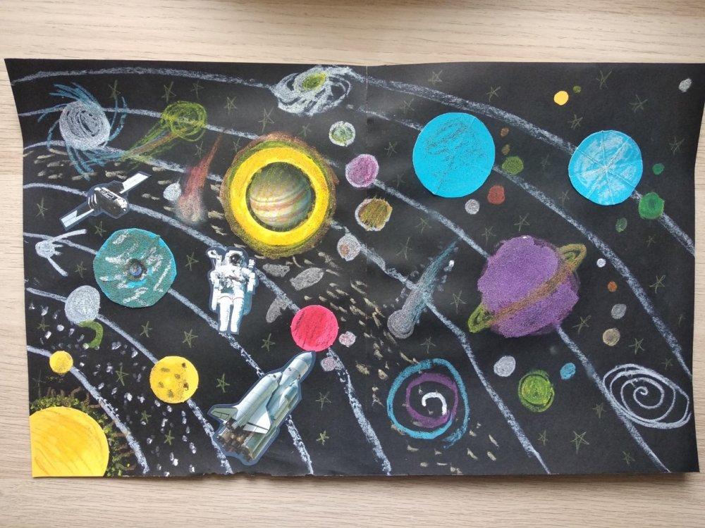 Światowy Dzień Kosmosu - praca plastyczna klasy 1c